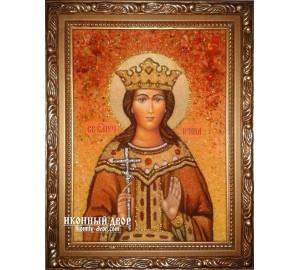 Ирина, великомученица - именная икона ручной работы из янтаря (ар-206)