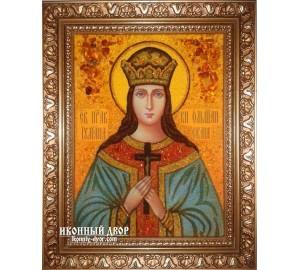 Иулиания Ольшанская - именная икона из янтаря ручной работы (ар-196)