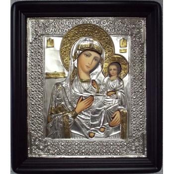 Иверская икона Божьей Матери - Писаная икона в серебряном окладе (хм-05)