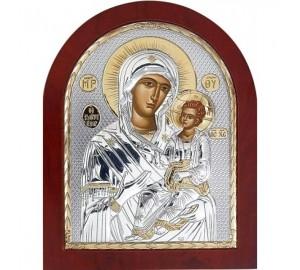 Иверская икона Пресвятой Богородицы - Икона из Греции в красивой арочной рамке (GOLD)