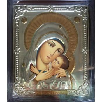 Касперівська Божа Матір - ікона писана в окладі з сріблом та позолотою (Хм-24)