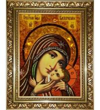 Касперовская икона Божьей Матери - икона с янтарем (ар-317)