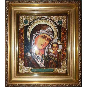 Казанская Богородица - Чудесная янтарная икона  (арпб-4)