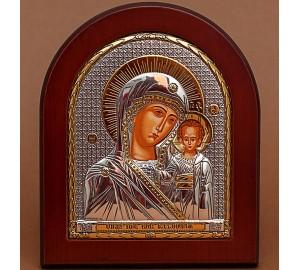 Казанская Божья Матерь - Греческая икона с серебром и позолотой (GOLD)