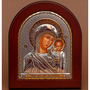 Казанська Божа Матір - Грецька ікона з сріблом та позолотою (GOLD)
