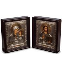 Казанская Божья Матерь и Господь Вседержитель - писаные иконы для свадьбы, с серебром (Хм-58)