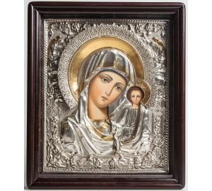 Казанская Божья Матерь в окладе с серебром и позолотой, писаная икона (Хм-04)