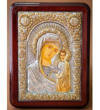 Казанская икона Богородицы, чистое серебро - красивая греческая икона (Казанская-1026/1)