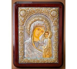 Казанская икона Богородицы, серебро, камни - эксклюзивная греческая икона (Казанская-1036)