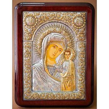 Казанская икона Богородицы, серебро - красивая греческая икона (Казанская-1026)