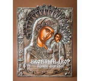 Казанська Ікона Божої Матері - Грецька ікона в окладі з чистого срібла (PA-88)