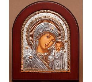 Казанська ікона Божої Матері - Красива грецька ікона з сріблом та позолотою (EK5-182XAG)