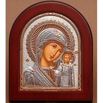 Казанская икона Божией Матери - Красивая греческая икона с серебром и позолотой (EK5-182XAG)