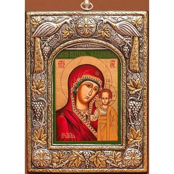 Казанская икона Пресвятой Богородицы, из чистого серебра - красивая греческая икона (27PSG)