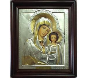 Казанская икона в окладе с серебром и позолотой, писаная икона (Хм-68)