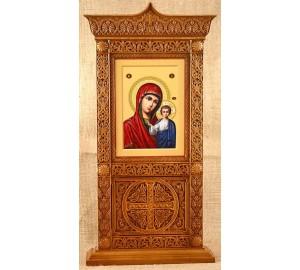 Киот настольный с иконой Казанской Богородицы (rev-105)