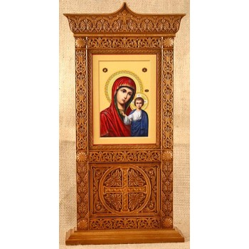Икона Казанской Богородицы, настольный киот с иконой купить для дома