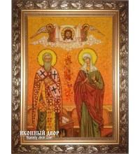 Киприан и Иустина (Иустинья) - красочная икона, ручная работа из янтаря (ар-128)