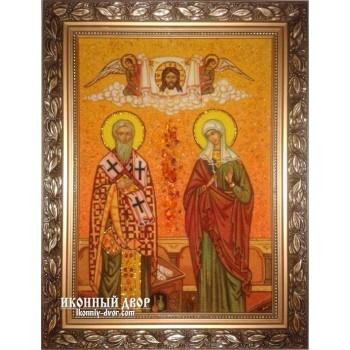 Кипріян і Іустина (Иустинья) - барвиста ікона, ручна робота з бурштину (ар-128)