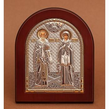 Киприан и Иустиния - Греческая икона с серебром и позолотой (GOLD)
