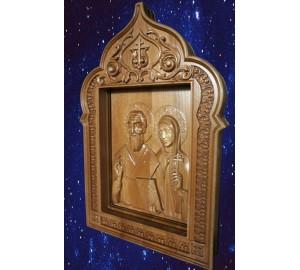 Киприан и Иустиния - Резная деревянная икона (р-09)