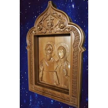 Кипріян і Иустиния - Різьблена дерев'яна ікона (р-09)