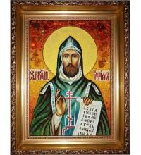 Кирилл - янтарная икона ручной работы (ар-181)