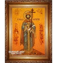 Константин - именная икона из янтаря ручной работы (ар-194)