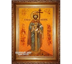 Костянтин - іменна ікона з бурштину ручної роботи (ар-194)