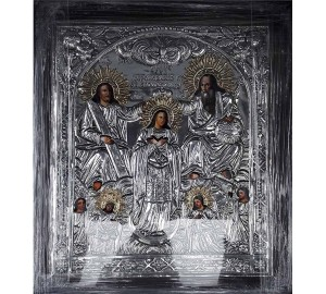 Коронование Пресвятой Богородицы - икона с серебром (хм-54)