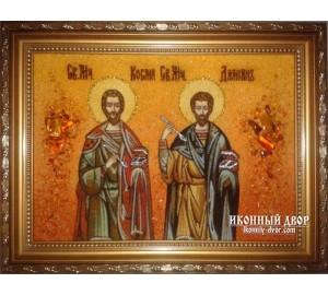 Косма и Дамиан - Икона из янтаря ручной работы (Косма и Дамиан )