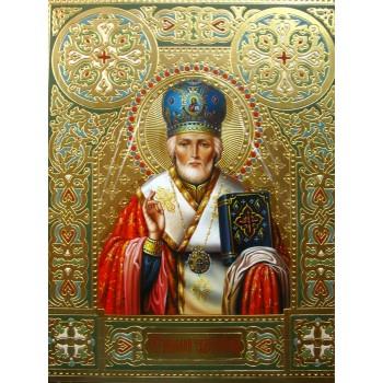 Красивая Писаная Икона с камнями Сваровски Святой Николай (Гр-06)