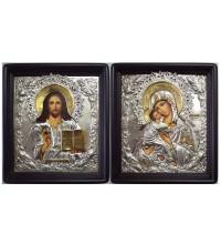 Красивые иконы для свадьбы Владимирская Богородица и Господь Вседержитель - иконы с серебром (Хм-70)