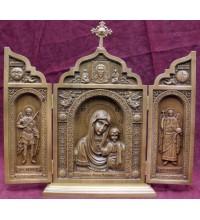 Красивый деревянный складень Казанская Божья Матерь (ск-05)