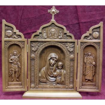 Красивий дерев'яний складаний Казанська Божа Мати (ск-05)