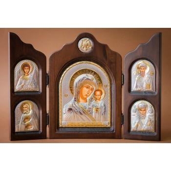 Красивый складень из трех частей Божья Матерь Казанская (ск-ka5)