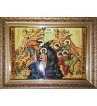 Крещение Господне - Икона из янтаря, ручной работы (ар-302)