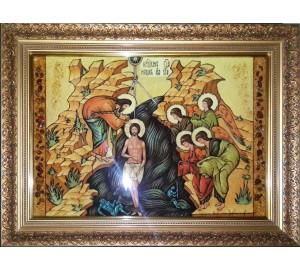 Хрещення Господнє - Ікона з бурштину ручної роботи (ар-302)