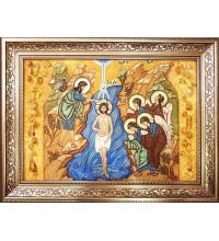 Крещение Господне - Икона из янтаря, ручной работы (ар-378)