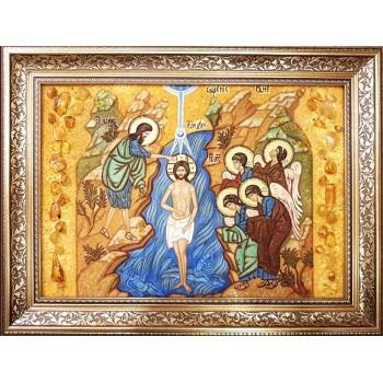 Крещение Господне, Богоявление - Икона из янтаря, ручной работы