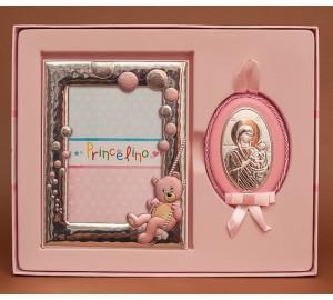 Крестильный набор для девочки - милая рамочка для фото и иконка с серебром на кожанной основе (аф-01)