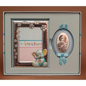 Крестильный набор для мальчика - фоторамка и иконка Божьей Матери с серебром на кожанной основе (аф-02)