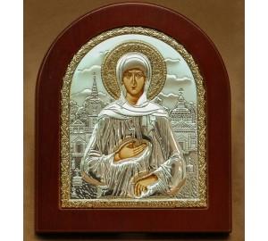 Ксения Петербургская - икона из Греции с серебром и позолотой (ЕК3-161XАG)