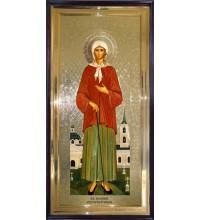 Ксения Петербургская - икона в деревянном киоте под стеклом (л-01)