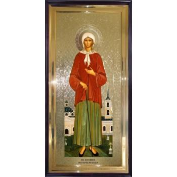 Ксенія Петербурзька - ікона у дерев'яному кіоті під склом (л-01)