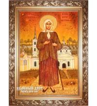 Ксения Петербургская - Превосходная икона ручной работы из янтаря (ар-129)