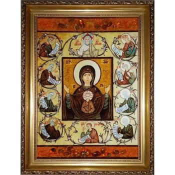 Курская Коренная икона Божией Матери - Икона из янтаря, ручной работы (ар-258)