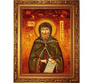 Леонтий - икона с янтарем (ар-67)