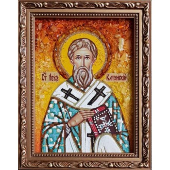 Лев Катанский - икона из янтаря (ар-364)