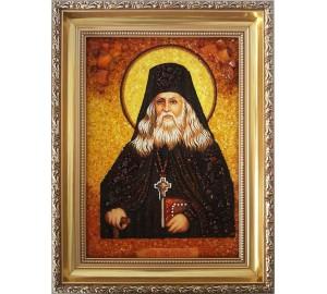 Лев Оптинский - икона ручной работы, из янтаря (ар-66)